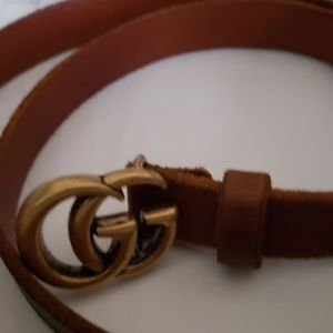 Gucci marmont brown unfinished leather skinny belt
